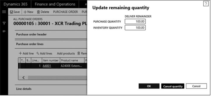 Dynamics 365 Finance and Operations  Update remaining quantity  asave +New @ Delete PURCHASE ORDER  ALL PURCHASE ORDERS  00000105 : 30001 - XCR Trading  Purchase '*der header  Purchase lines  Add line Add lines Add
